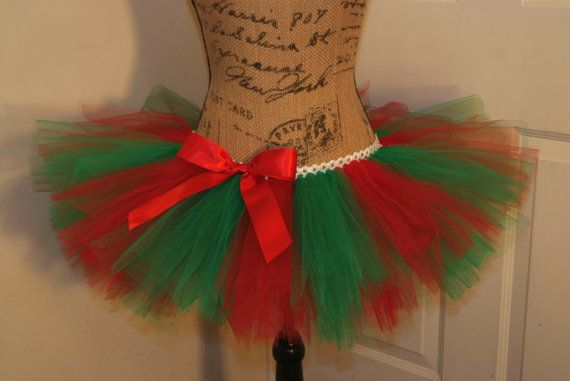 Tomboy Stripe Pattern Red and Green Christmas Race Running Tutu; Adult Women on Etsy, $30.00