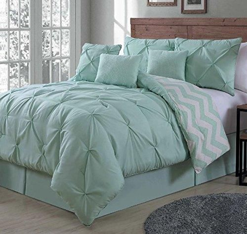 Mint Pinch Pleated Comforter Queen Set Plush Seafoam Green Pinched