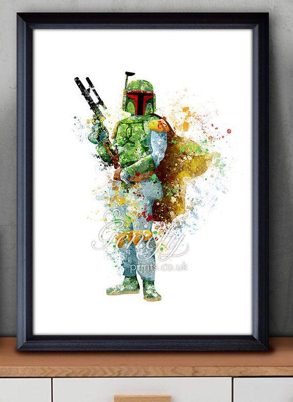 Star Wars Boba Fett Aquarell Kunst Silhouette Poster drucken - Wand-Dekor - Aquarell - Hauptdekor - Kids Dekor - Kinderzimmer Decor