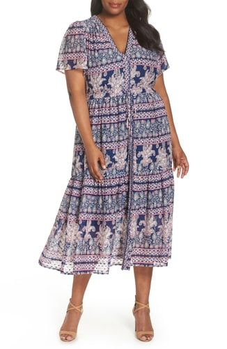 425232a1663 New Eliza J Flutter Sleeve Print Fil Coup  Maxi Dress (Plus Size) online.    188  fgofashion offers on top store