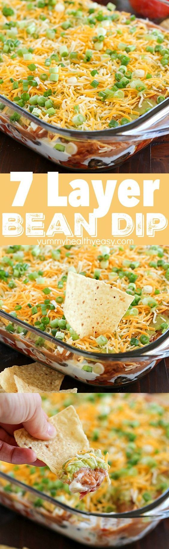 7 Layer Bean Dip - It's perfect to bring to a party or to serve during game day!: