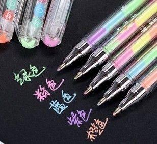 5 pcs/lot 6 colors in 1 pen Cute Kawaii  Watercolor Gel Pen Water Chalk Pen for Black Board Scrapbooking Photo Free shipping 534