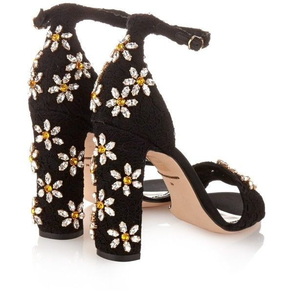 Dolce & Gabbana Daisy crystal-embellished sandals (£696) ❤ liked on Polyvore featuring shoes, sandals, heels, flower print shoes, block heel shoes, floral heels shoes, block heel sandals and floral shoes