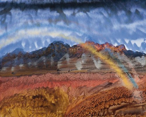 Sidney Nolan (Australian, 1917-1992)Rainbow Over PilbaraDimensions: 121 by 152 cmMedium: Spray enamel on canvas