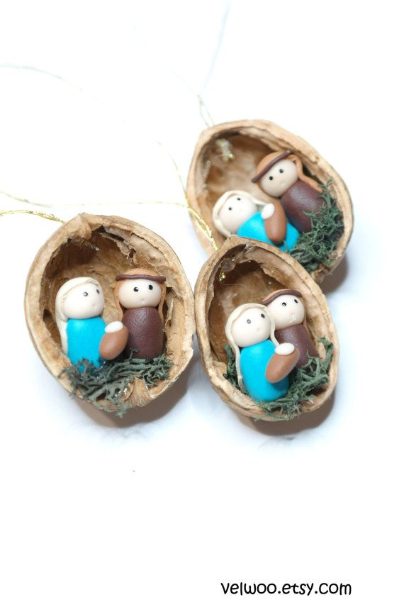 Nativity ornament Christmas Ornaments nativity walnut shell Tree Decorations Package Tie Ons These handmade ornaments are created from walnut shell and polymer clay.  However it can be a perfect gift for any christmas fun! Perfect decoration for that funny and cute Christmas tree. These would make a unique addition to your home decor, a beautiful accent to your Christmas tree or a great gift.  You will receive your ornament set in beautiful gift box and it`s ready for gifting.  They are ...