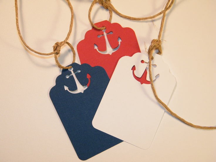 Nautical Wedding Placecards / Gift Tags - Anchor Napkin Holders / Escort Cards / Price tag- Red White Navy DIY Wedding Wish Tree Tags. $8.75, via Etsy.