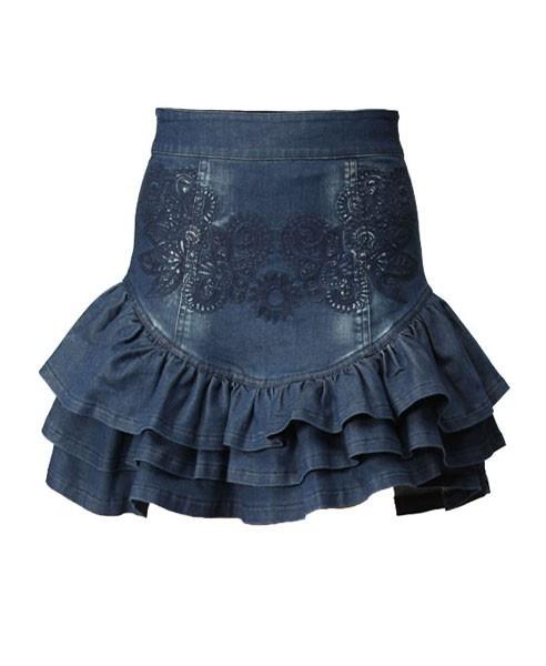 Baroque Embroidery Denim Skirt with Ruffle Hem