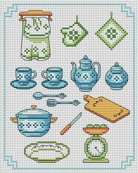 To the Kitchen. This pattern is from a site that has really easy to download embroidery patterns for free. It's http://cross-stitchers-club.com/?code_avantage=uucqid. Plus, if you click on this link, you'll automatically receive a gift when you subscribe. I use this site all the time; there are hundreds of all different types of patterns, and there are new patterns added everyday. It's really worth a look.