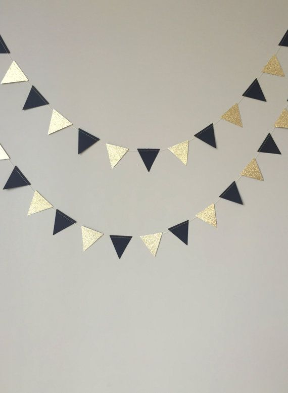 50th Birthday Party Decoration, Mini Black and Gold Glitter Triangle Garland, Paper Garland, Black and Gold Decor