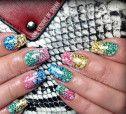 rainbow gradient glitter stamped spring summer nails