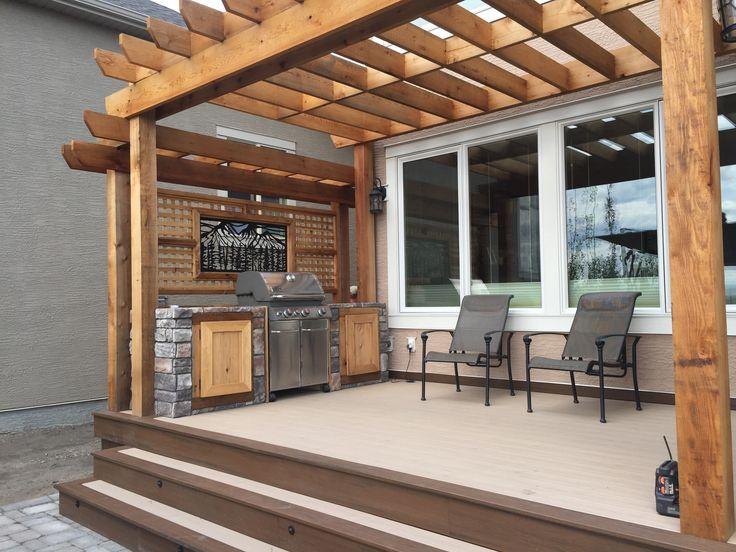 Custom outdoor kitchen & Cedar Pergola. thelittledecker.ca