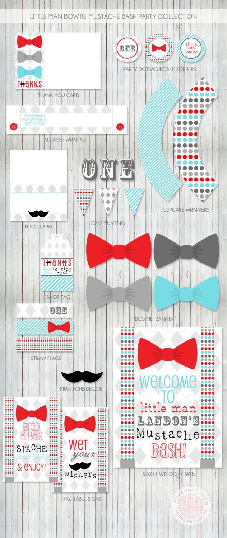 Little Man Bow Tie Mustache Bash Printable by PetitePartyStudio