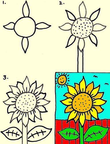 Kids art club - How to draw a sunflower: