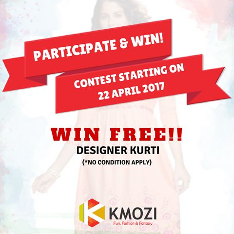 Once again our 3rd contest for this season! It's a time to win some best products of KMOZI ABSOLUTELY FREE!! Participate in a Kmozi Saturday contest starting from 22nd April 2017 and win FREE Designer Kurti! Keep watching KMOZI page and don't miss to participate in the contest. Here is a catch! Every participant will win something! So do not miss to participate in the contest and win assured Kmozi Coupons! #Contest