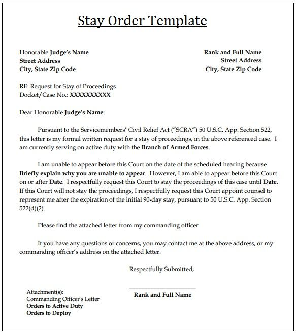 2 Court Stay Order Templates Free Word Excel PDF