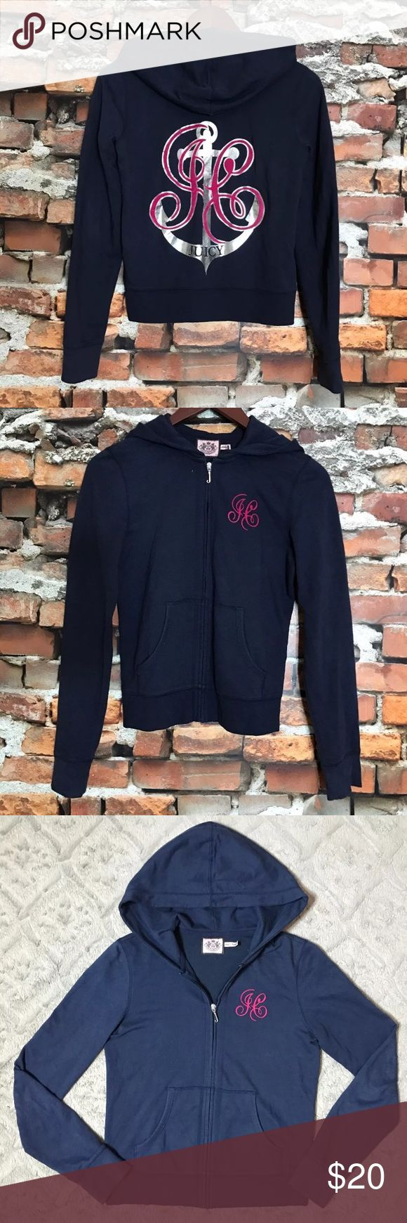 """Juicy Couture Nautical Anchor Velvet Zip Hoodie S Juicy Couture Navy Blue Nautical Anchor Pink Velvet Monogram Zip Up Hoodie Small  *Great Used Condition!  Measurements: 32"""" Bust 21"""" Length Juicy Couture Sweaters"""