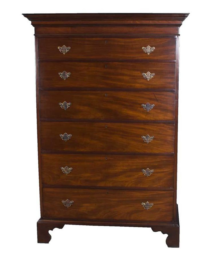 Antique English Chippendale Tall Dresser Chest Of Drawers