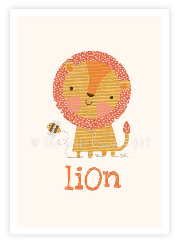 Little Lion & his Bumble Bee buddy - A4 art print illustration poster kids children's room wall nursery jungle safari animal yellow