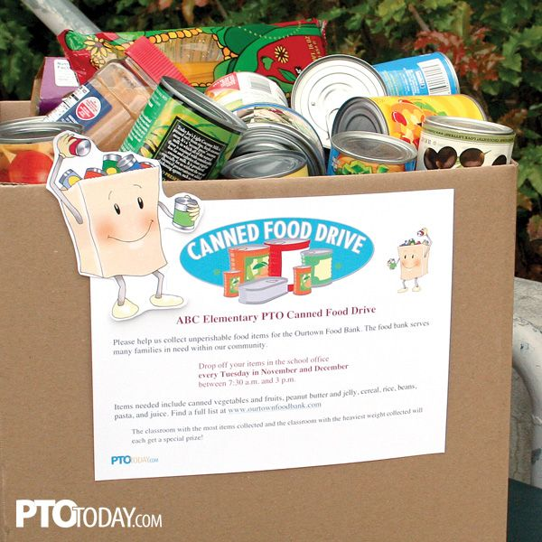 Use our editable flyer to get families involved in your canned food drive! #PTO #PTA