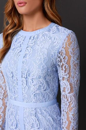 Pretty Periwinkle Dress - Long Sleeve Dress - Lace Dress - $126.00
