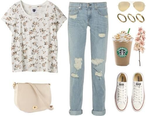 Very girly because of the floral, but the boyfriend-fitted, distressed jeans tone it down, and the converse are perfect to complete this casual ouffit