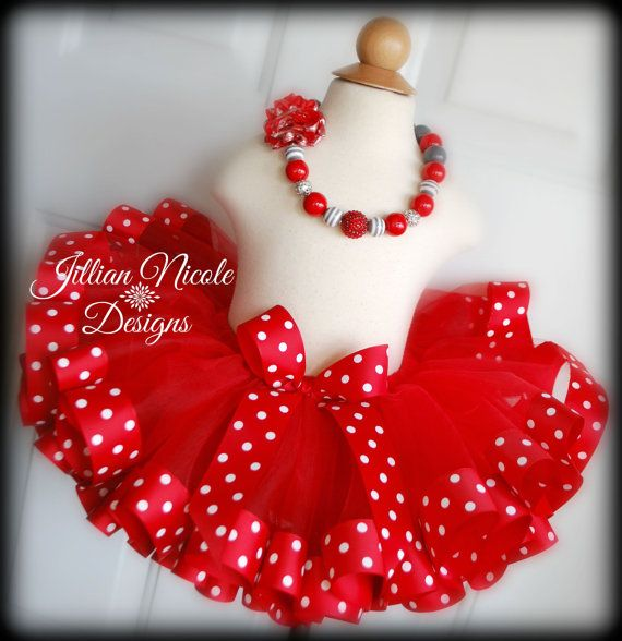 Sewn Red Tutu With Wide Red Polka Dot by JillianNicoleDesigns