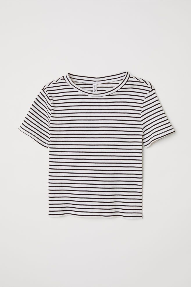 3fdcb32bc10 H&M Rib-knit Top - White in 2019 | Outfits & Shirts | Tops, Ribbed ...