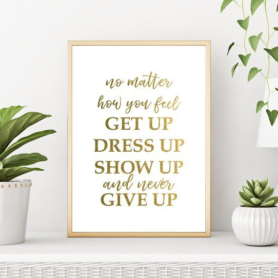 Never Give Up Motivational Inspirational Quote Poster Print Wall Art