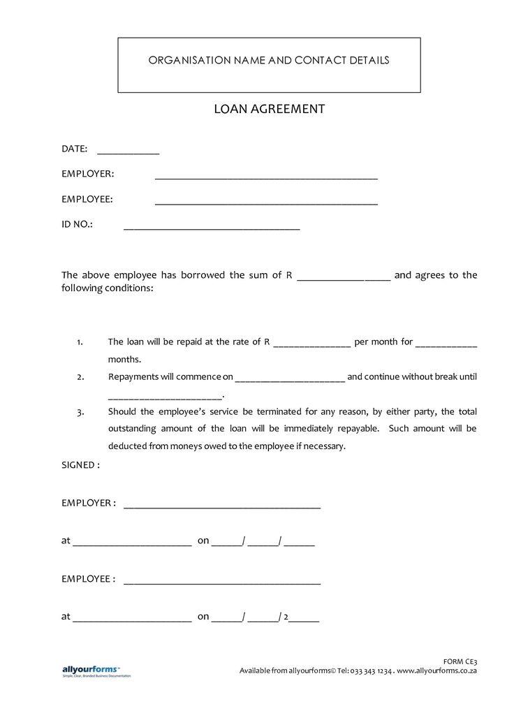Printable Sample Loan Template Form