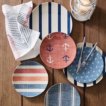 Nautical Outdoor Plates: High seas style. This Nautical Outdoor Dinnerware has the look and feel of hand-painted ceramic, but is made from durable melamine. Inspired by nautical designs, it makes everyday meals feel festive. | West Elm
