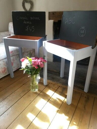 School desks painted with chalk board lids by Florence and Evelyn x