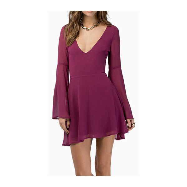 Catching Hollow Design Flare Sleeve Wine Red Mini Dress and other apparel, accessories and trends. Browse and shop related looks.  $39.