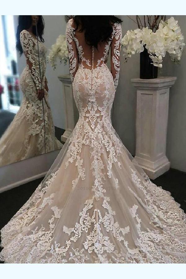 Mermaid Bröllopsklänningar Sweep / Pensel Train Mermaid / Mermaid Style Sweetheart Ärmlös Lace