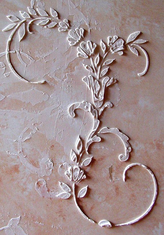 Raised Plaster Dresden Stencil, Craft Stencil, Wall Stencil, Painting Stencil, Furniture Stencil