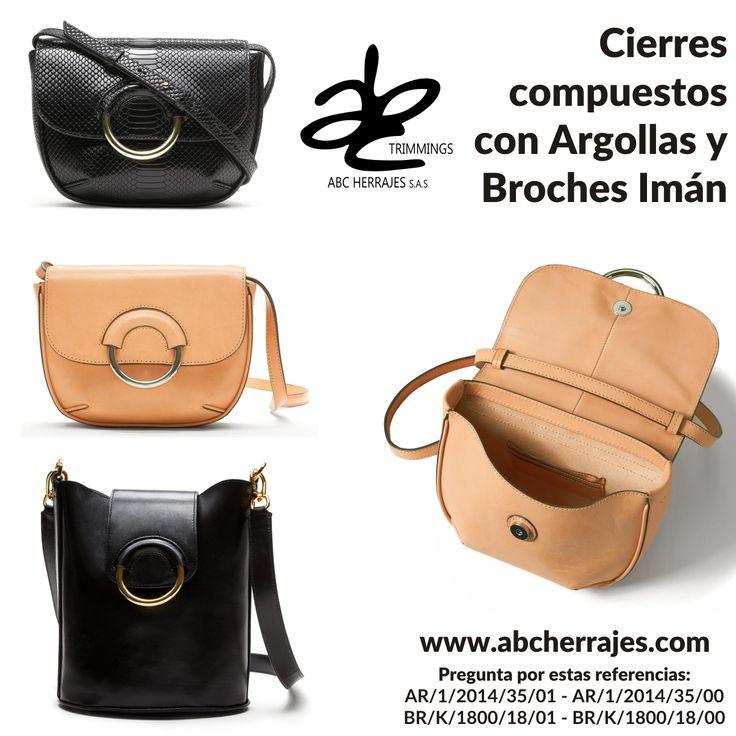 #Cierres compuestos con #Argollas y #BrochesIman. #ABCHerrajes #Marroquineria #Bolsos #Carteras #Adornos #Accesorios Nos puedes encontrar en:  #Bogota: Calle 74A # 23-25 / Tel: 2115117  #Medellin: Diagonal 74B # 32-133 / Tel: 3412383  #Barranquilla: Cra. 52 # 72-114 C.C. Plaza 52 / Tel: 3690687 Visítanos en: www.abcherrajes.com