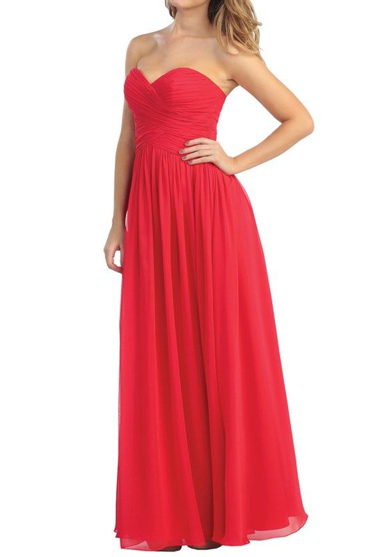 "Strapless prom gown would be a beautiful bridesmaid dress also.  4 colors available.  This is ""Ruby.""  XS-3XL at www.miniandmeboutique.com"