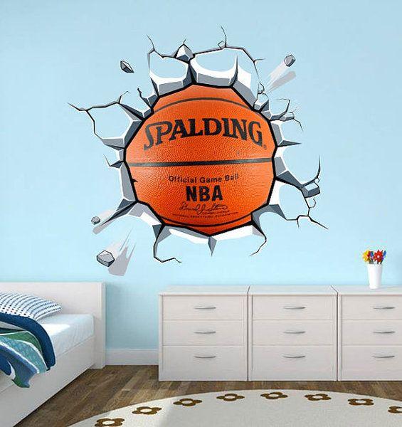 Wandtattoo Aufkleber Basketball Effekt Wand Rissig von WANDTATTOOS auf DaWanda.com