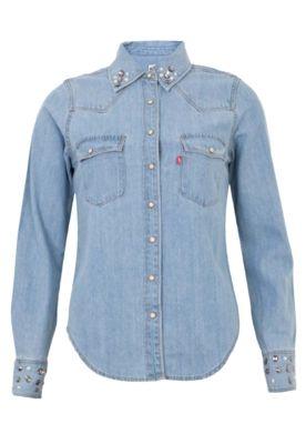 Camisa Jeans Sawary Reta Nubia Azul - Compre Agora | Dafiti