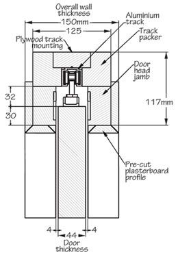 Impero Fire Rated Fd30 Pocket Door Gear Dimensions In