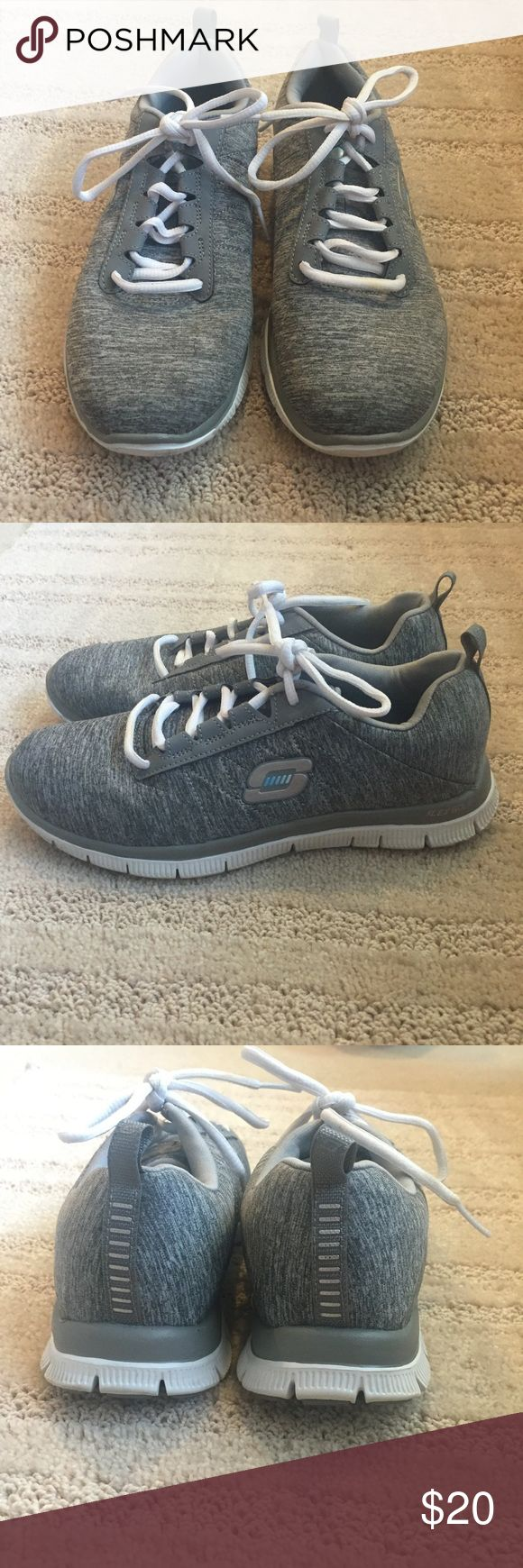 Grey Sketchers Tennis Shoes These are basically new! Great shoes! They are the lightweight memory foam edition! Skechers Shoes Sneakers