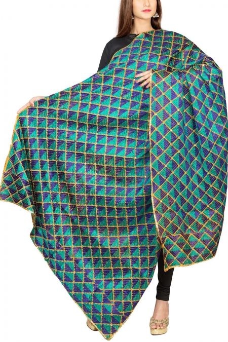 Royal Yellow & Multi-colorerd Cotton Phulkari Bagh Dupatta