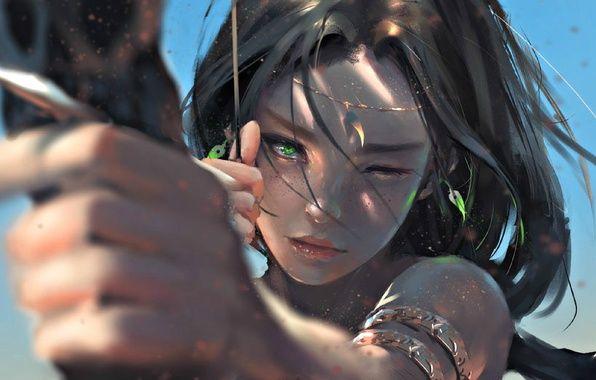 Фото обои арт, стрелы, фентези, лук, Девушка, воин