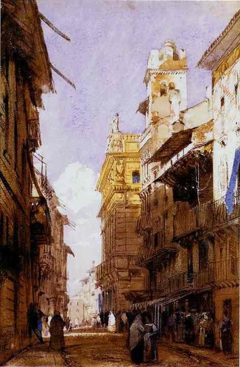 Richard Parkes Bonington - Corso Sant'Anastasia, Verona, with the Palace of Prince Maffei, 1826