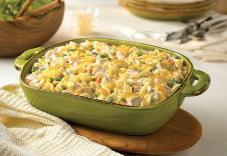 This comforting and delicious casserole features chicken, veggies, noodles and lots of cheese...you can make the entire dish in less than an hour, and when dinner is served, everyone will be happy.