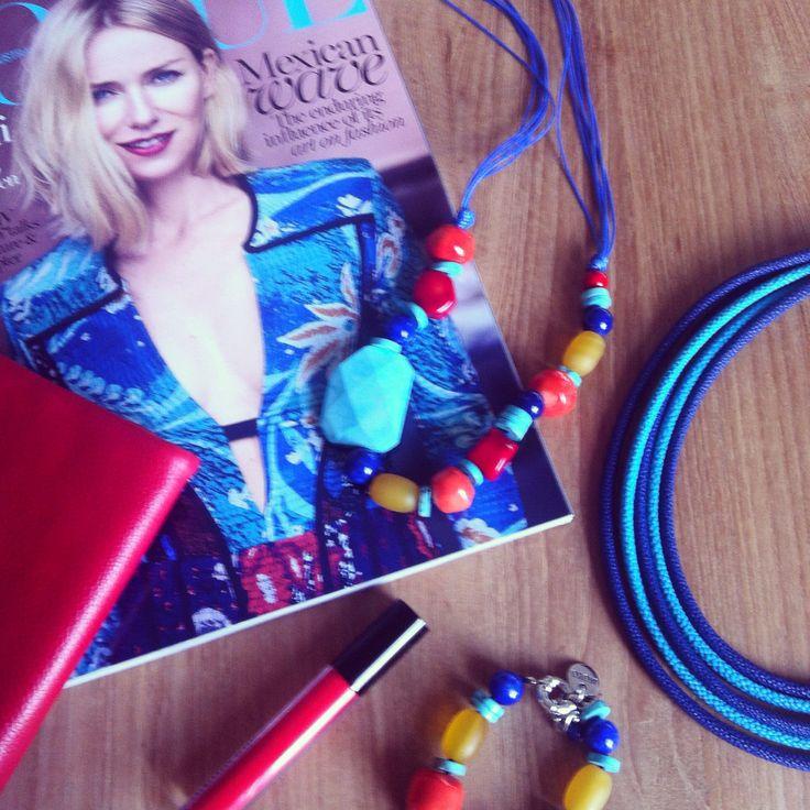 Moko Jewellery Handmade Jewellery. Coral, turquoise & jade necklace and bracket + rubber necklace www.moko.co