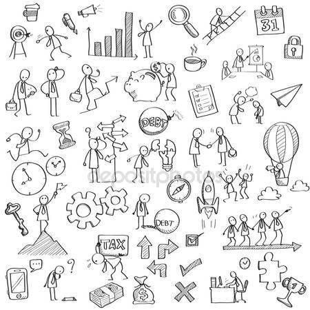 Dibujo y dibujo de carácter hombre de negocios en diferentes concepto de negocios, finanzas, sentimiento, emoción, trabajo, visión y estrategia, el dinero, o con muchos objetos de Office