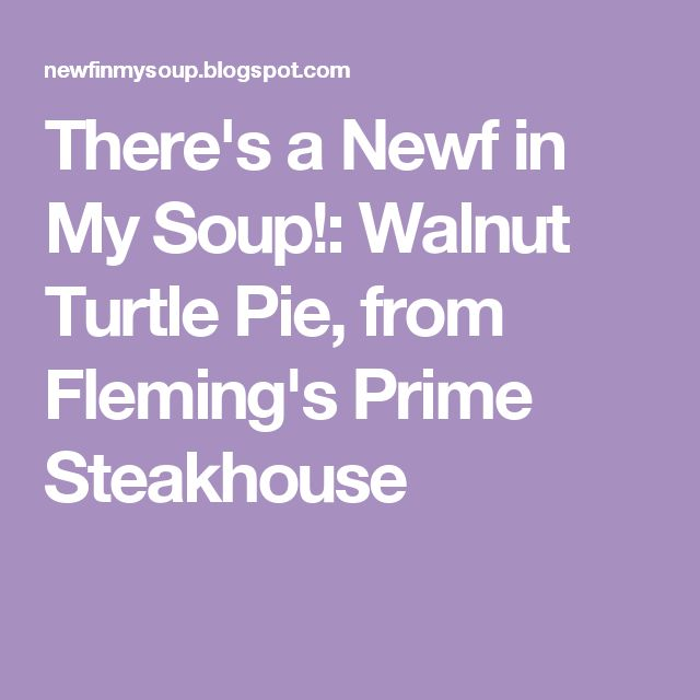 There's a Newf in My Soup!: Walnut Turtle Pie, from Fleming's Prime Steakhouse