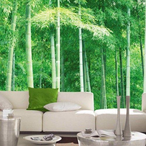 Bamboe fotobehang   Met dit behang breng je een stukje natuur in huis met het fotobehang vol groene bamboes. Er is geen betere plek om tot rust te komen.