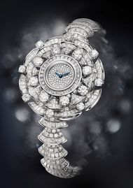 Bulgari Diva high jewellery watch features 302 baguette-cut diamonds, 16 round-cut diamonds and 394 brilliant-cut diamonds adding up to 22.62ct. Discover the fashion watches of Bvlgari and others: http://www.thejewelleryeditor.com/watches/baselworld-2014-new-jewellery-watches-for-women/ #jewelry