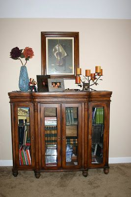 Adding legs to a hutch top makes it a beautiful bookcase
